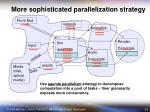 more sophisticated parallelization strategy