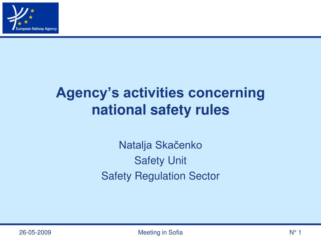 agency s activities concerning national safety rules l.