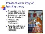 philosophical history of learning theory
