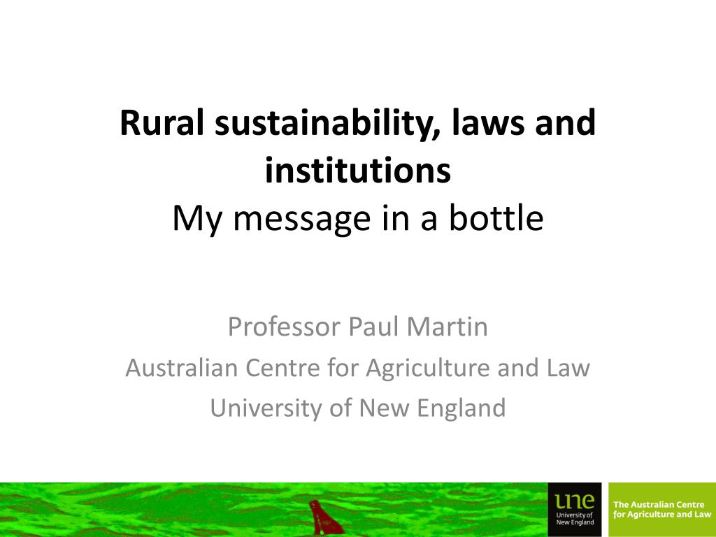rural sustainability laws and institutions my message in a bottle l.