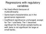 regressions with regulatory variables