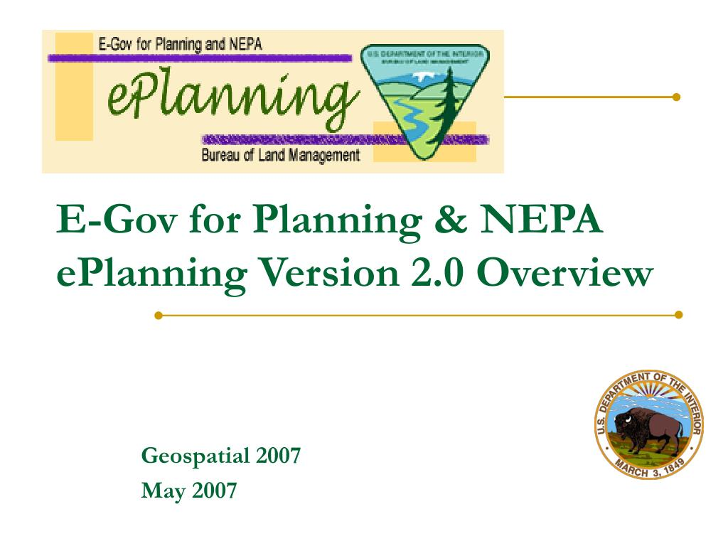 e gov for planning nepa eplanning version 2 0 overview l.