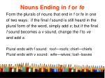 nouns ending in f or fe