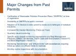 major changes from past permits