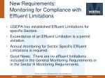 new requirements monitoring for compliance with effluent limitations