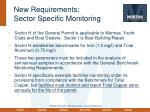 new requirements sector specific monitoring