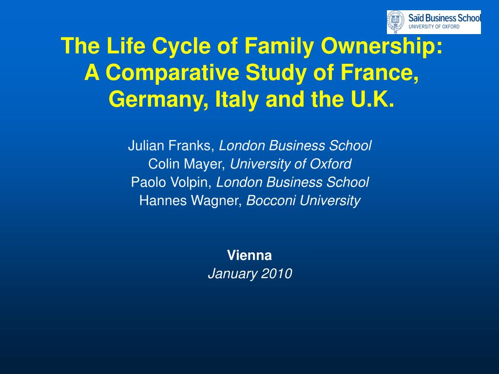 the life cycle of family ownership a comparative study of france germany italy and the u k l.