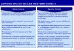 corporate strategy in stable and dynamic contexts