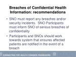 breaches of confidential health information recommendations25