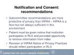 notification and consent recommendations