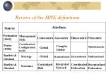 review of the mne definitions