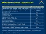 improve hf practice characteristics