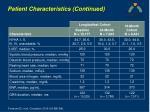 patient characteristics continued