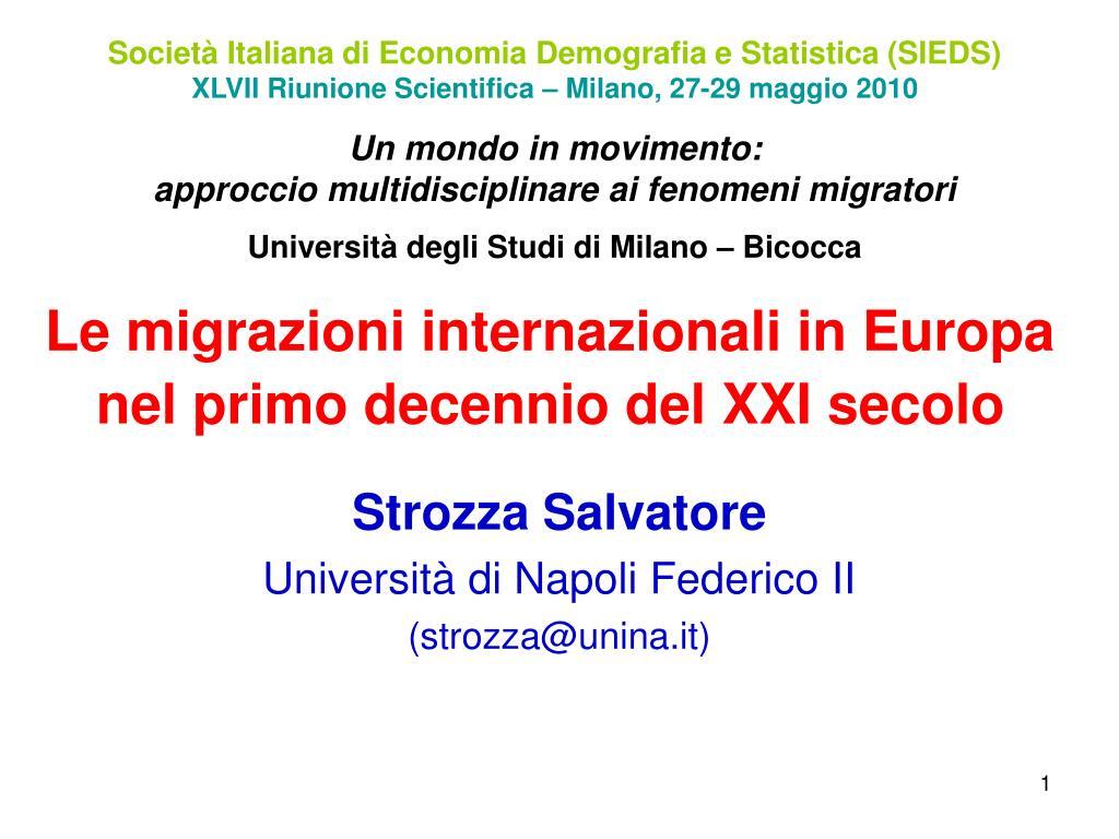 le migrazioni internazionali in europa nel primo decennio del xxi secolo l.