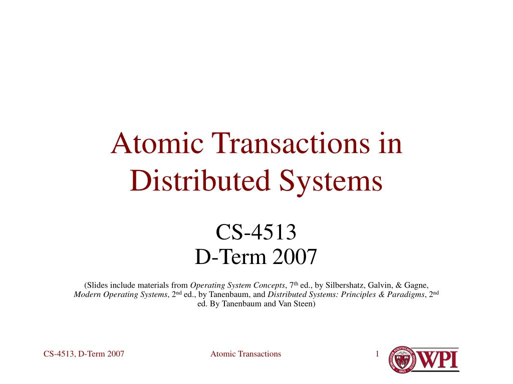 atomic transactions in distributed systems l.