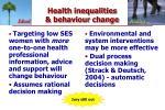 health inequalities behaviour change