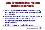 why is the idealism realism debate important