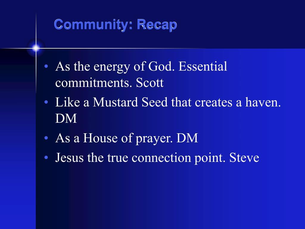 community recap l.