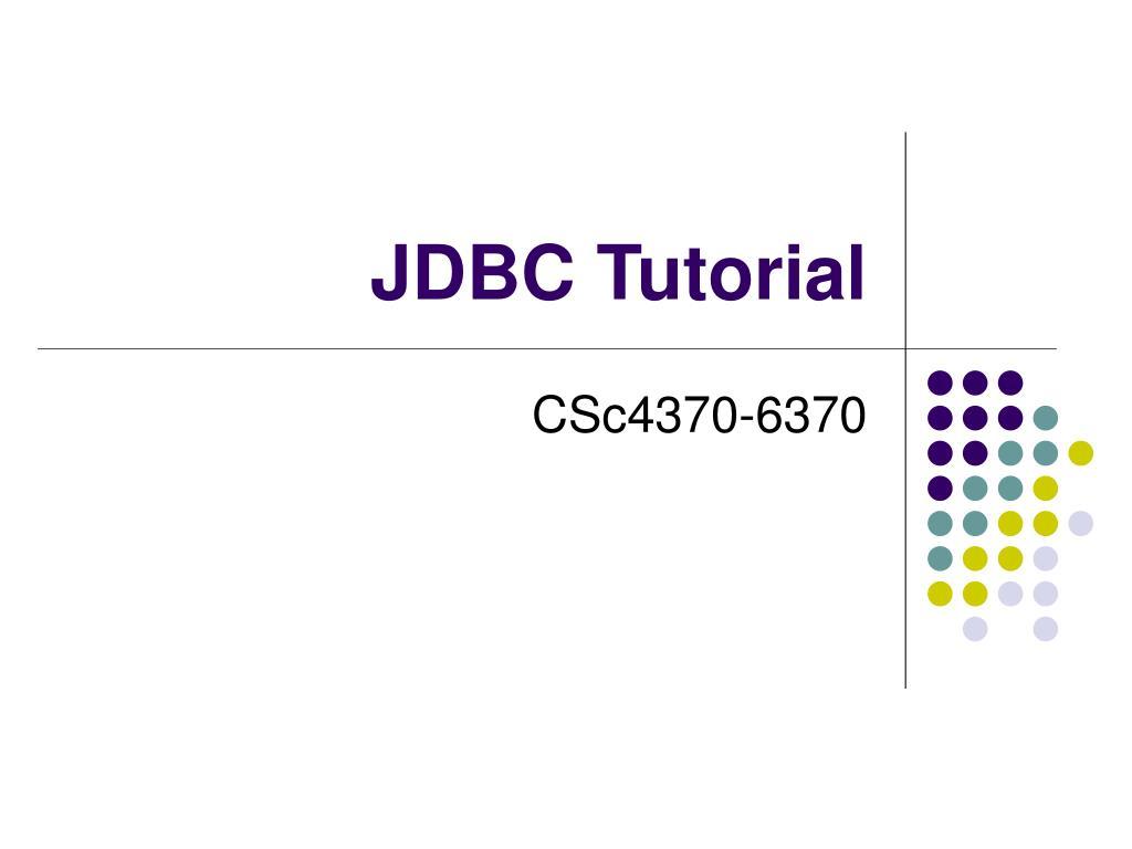 jdbc tutorial l.