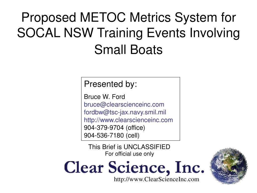 proposed metoc metrics system for socal nsw training events involving small boats l.