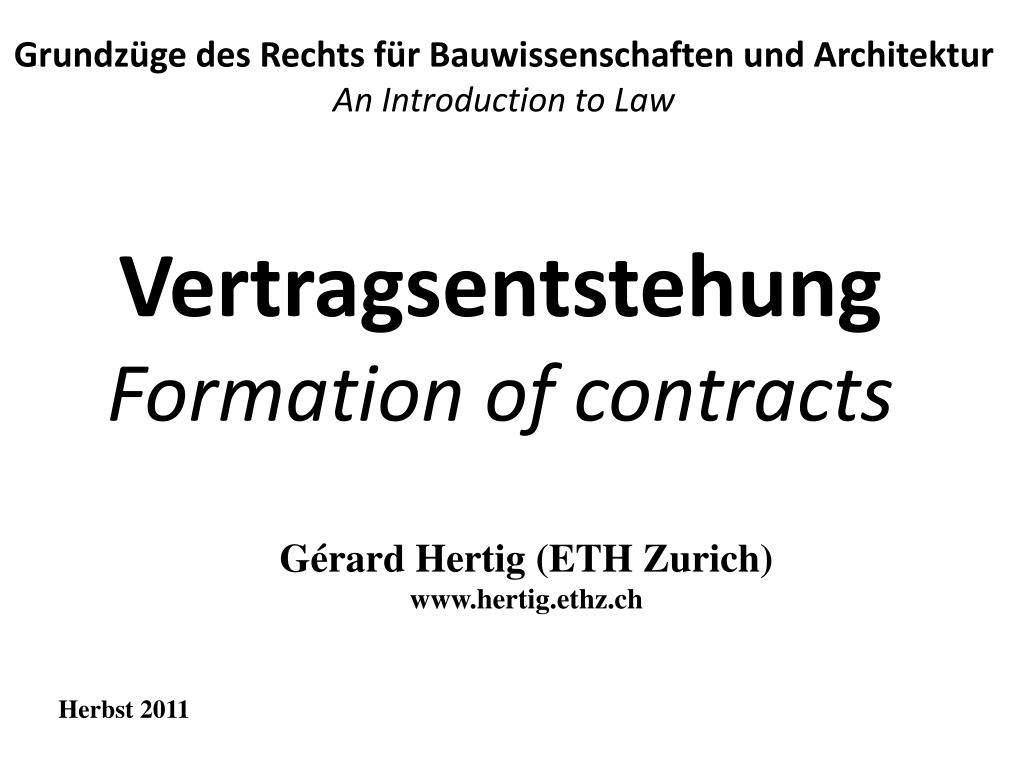 vertragsentstehung formation of contracts l.