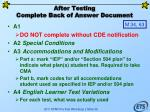 after testing complete back of answer document