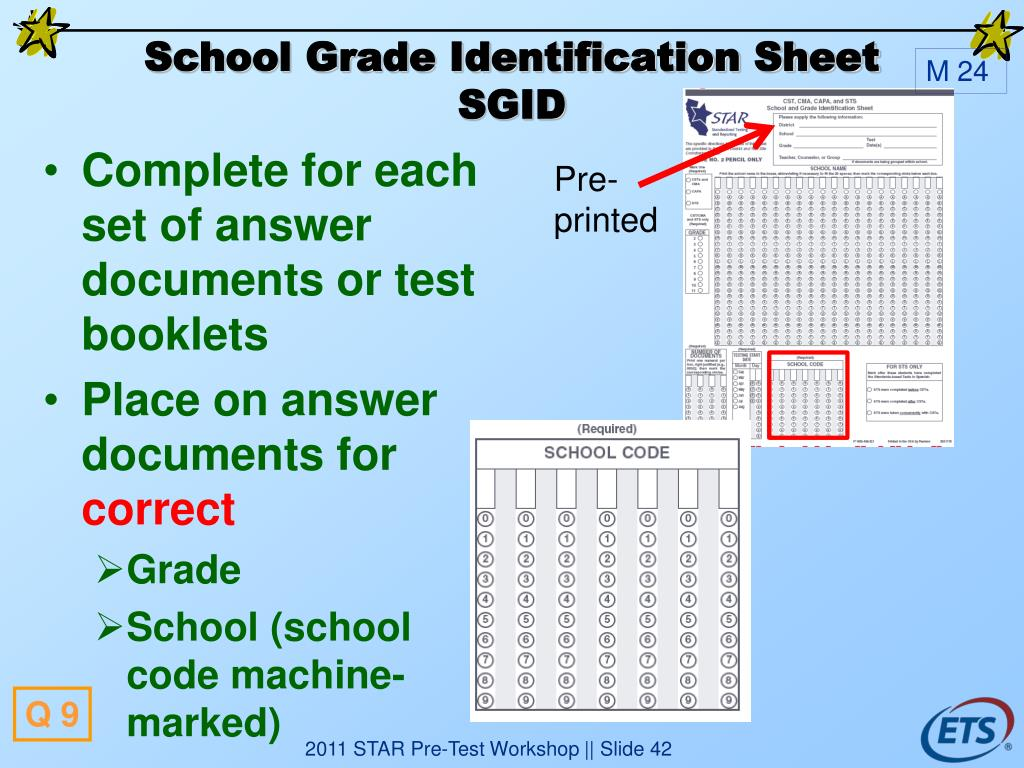 School Grade Identification Sheet