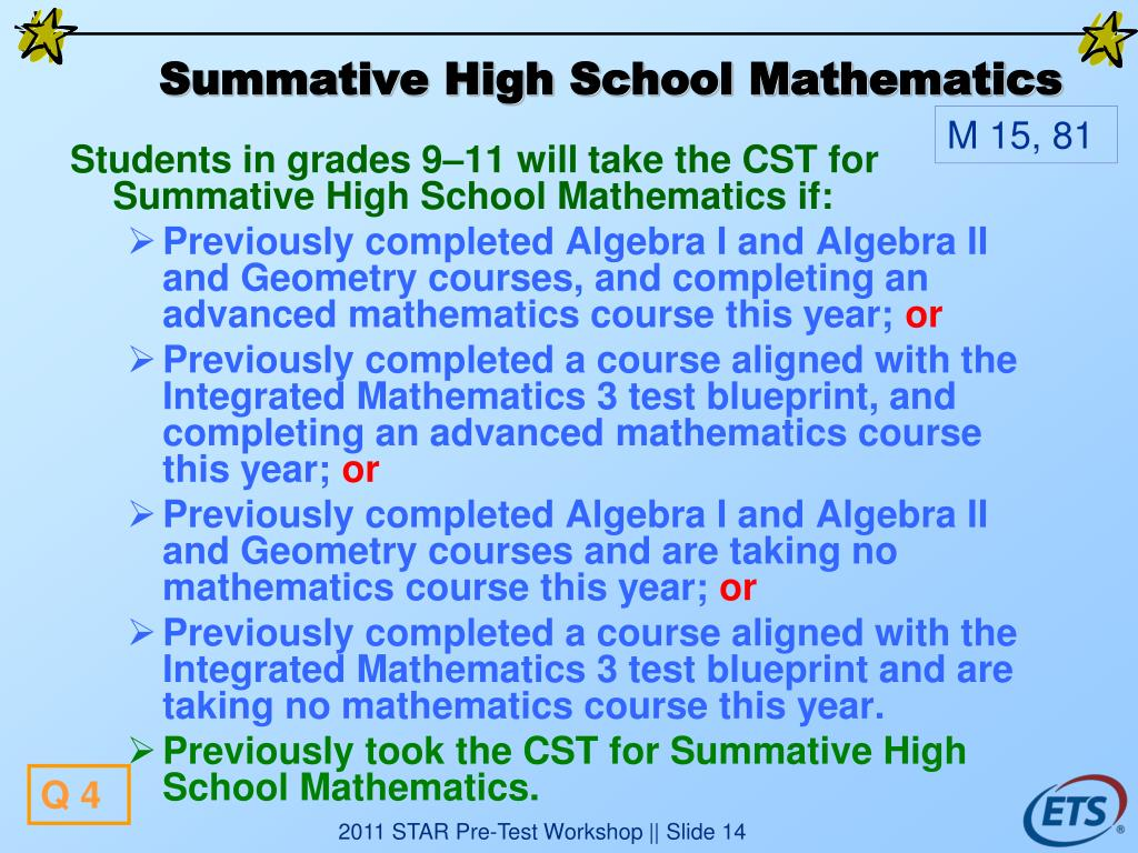 Summative High School Mathematics
