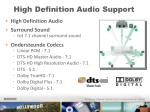 high definition audio support