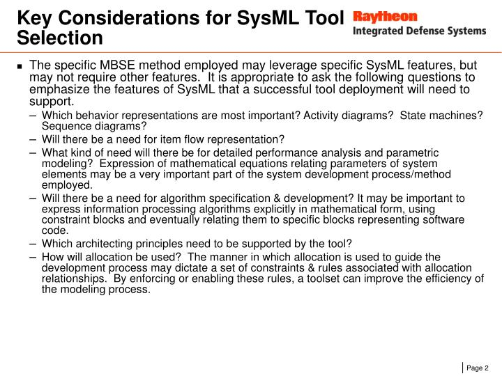 Key considerations for sysml tool selection