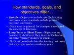 how standards goals and objectives differ