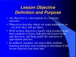 lesson objective definition and purpose