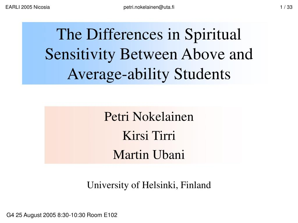 the differences in spiritual sensitivity between above and average ability students l.