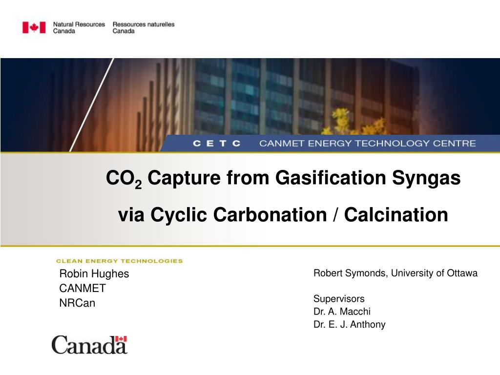 co 2 capture from gasification syngas via cyclic carbonation calcination l.