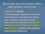 husbands must treat their wives with equality and honor