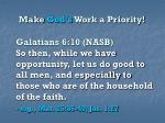 make god s work a priority