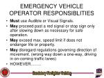 emergency vehicle operator responsiblities