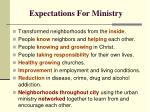 expectations for ministry