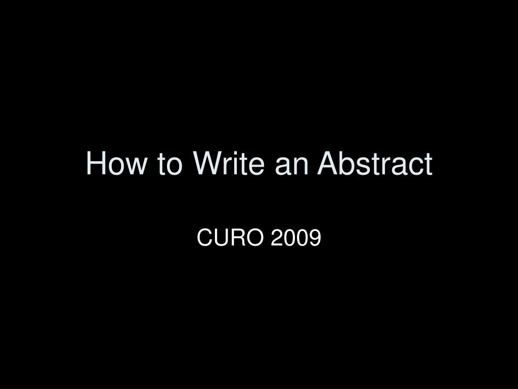 how to write an abstract l.