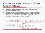 correlation and covariance of two stocks returns