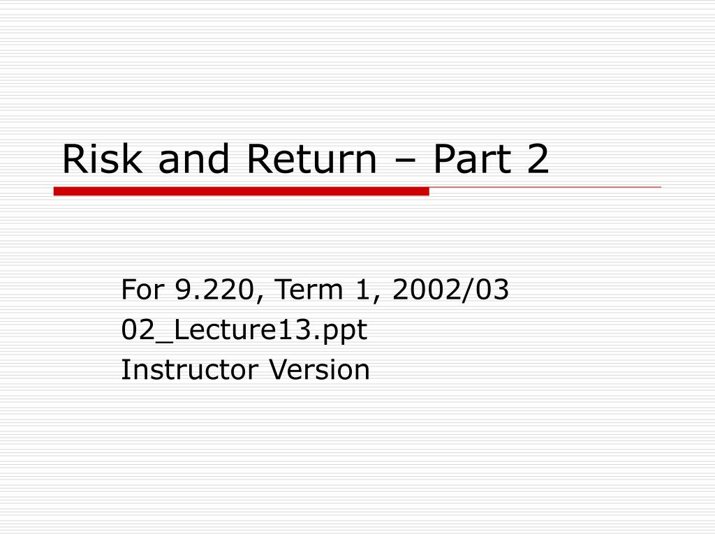 risk and return part 2 l.