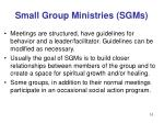 small group ministries sgms