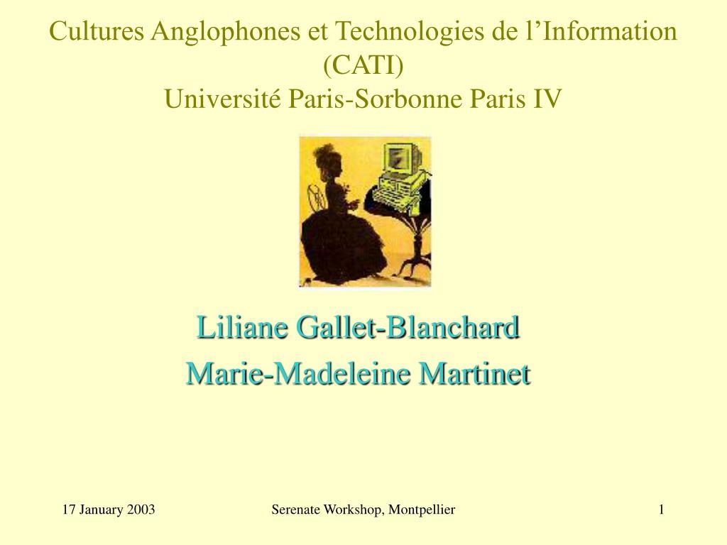 cultures anglophones et technologies de l information cati universit paris sorbonne paris iv l.