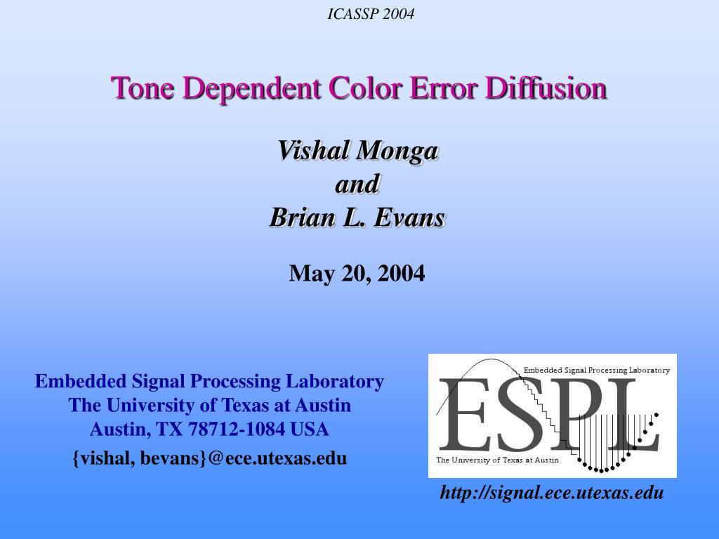 tone dependent color error diffusion l.