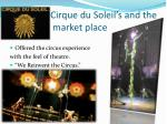 cirque du soleil s and the market place