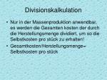 divisionskalkulation