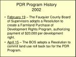 pdr program history 2002