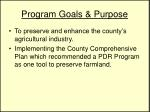 program goals purpose