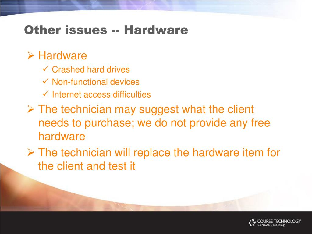Other issues -- Hardware