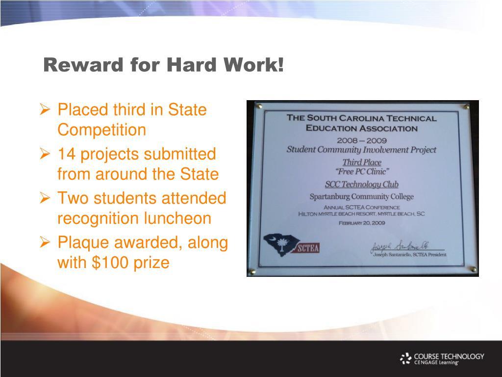 Reward for Hard Work!